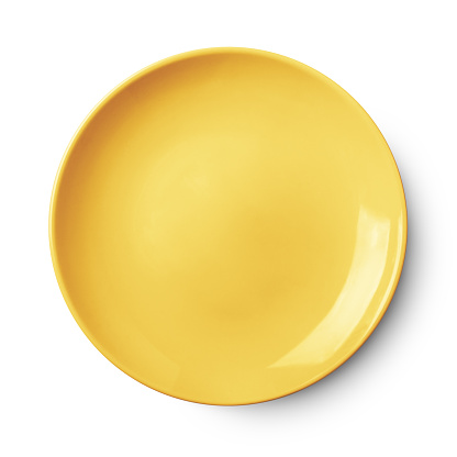 Empty ceramic round plate isolated on white with clipping path 628518626