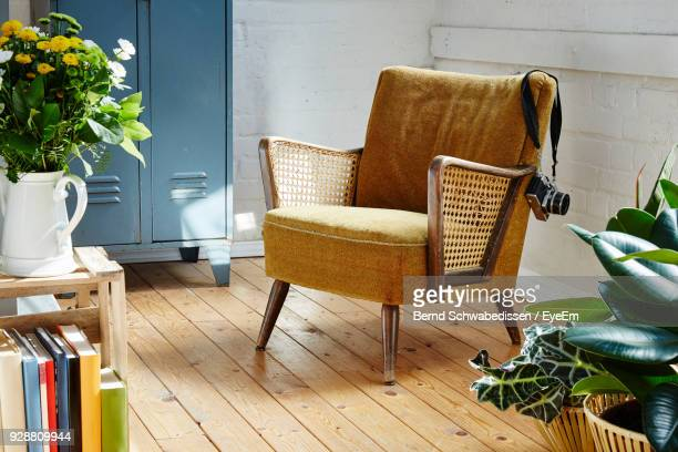 empty chair at home - armchair stock pictures, royalty-free photos & images