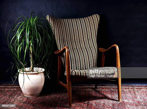 Empty Chair By Potted Plant Against Wall In Room