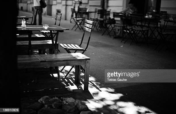 Empty chairs and table