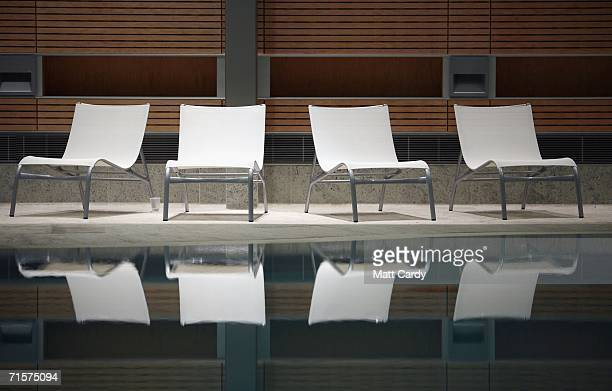 Empty chairs around the Minerva pool in the Thermal Bath Spa complex await the arrival of customers as it prepares to open to the public on August 1...