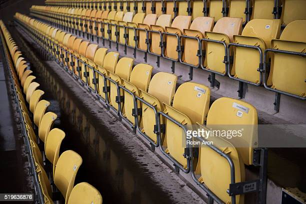 Empty chairs before the Allsvenskan match between IF Elfsborg and Hammarby IF at Boras Arena on May 7, 2016 in Boras, Sweden.