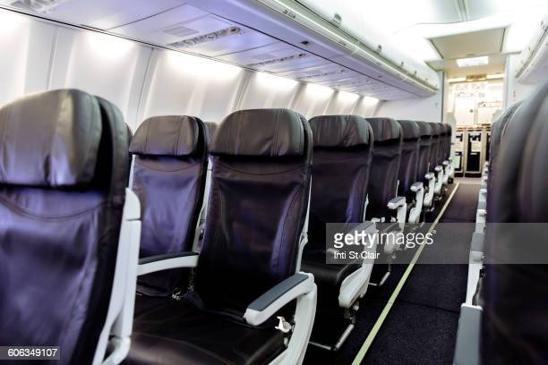 Empty chairs in airplane