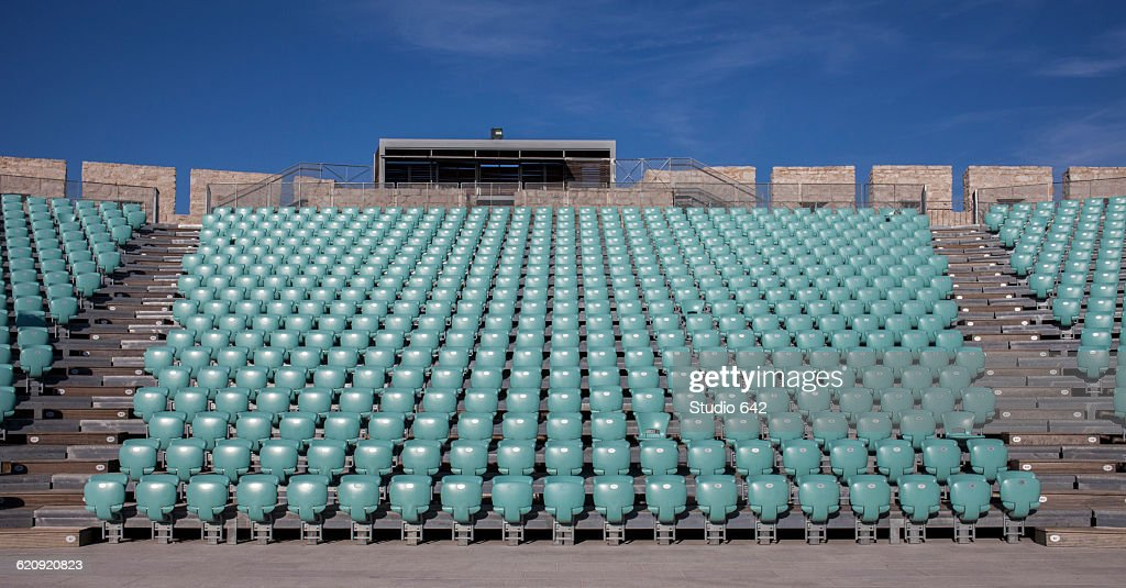 Empty chairs in outdoor amphitheater : Stock Photo