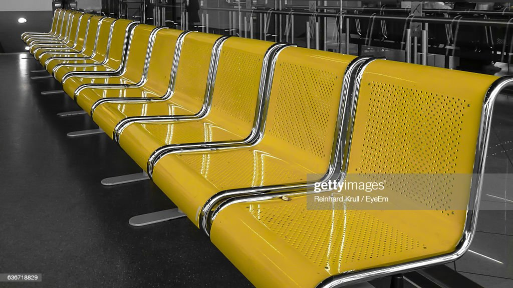 Empty Chairs In Waiting Room At Subway Station : Stock Photo