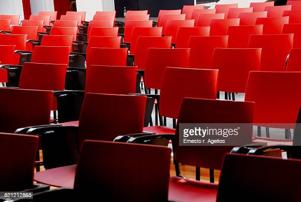 Empty chairs on an assembly room
