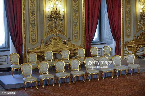 Empty chairs prior to the new government ceremony at Quirinale Palace on February 22 2014 in Rome Italy Newly designated 39yearold Prime Minister...