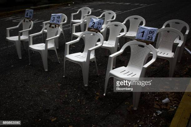 Empty chairs sit outside a polling station during a nationwide mayoral election in Caracas Venezuela on Sunday Dec 10 2017 Major opposition parties...