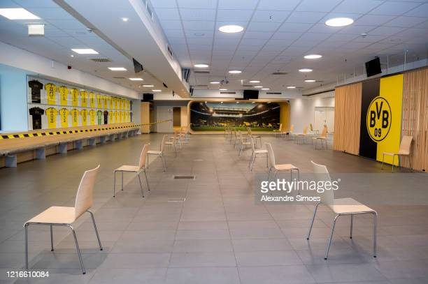 Empty chairs stand in a coronavirus care facility at the north stand at Signal Iduna Park on April 3, 2020 in Dortmund, Germany. Bundesliga club...