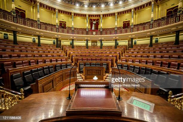 Empty chamber of the Congress of Deputies of Spain after the suspension of the plenary session of this week as a preventive measure to contain the...