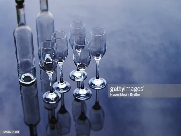 Empty Champagne Flutes On Table