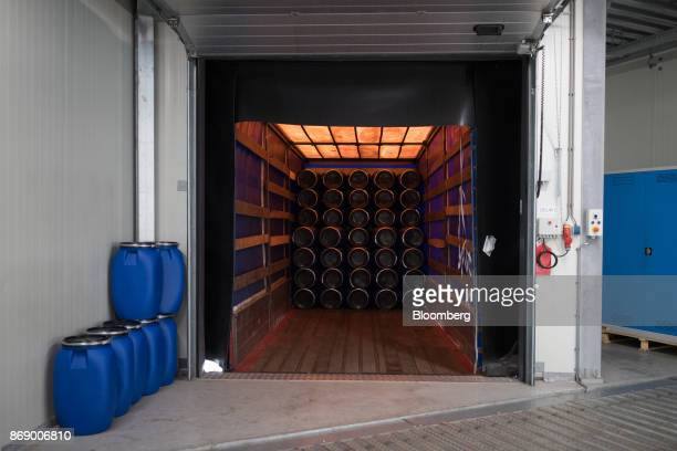Empty chemical storage barrels sit in a truck as they arrive at the Stahl Holdings BV headquarter factory in Waalwijk Netherlands on Wednesday Nov 1...