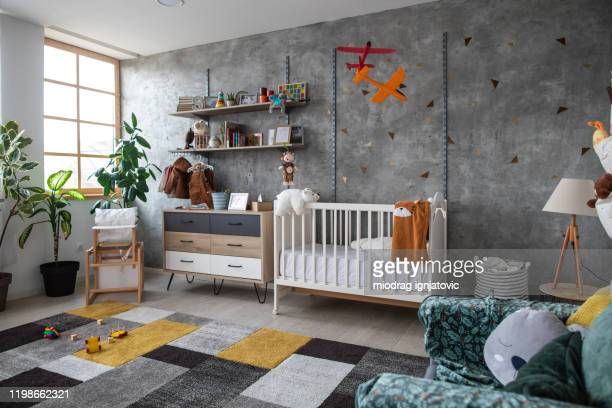 empty children's playroom - nursery bedroom stock pictures, royalty-free photos & images