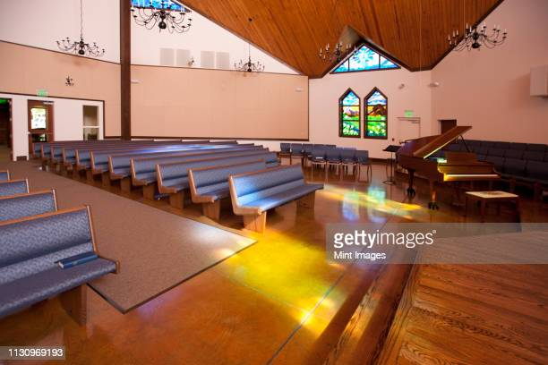 empty church - church stock pictures, royalty-free photos & images