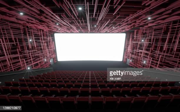 empty cinema with empty seats - apresentação de filme imagens e fotografias de stock