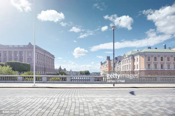 empty city road, stockholm, sweden - paving stone stock pictures, royalty-free photos & images
