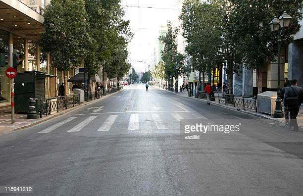 empty city street - mid section stock photos and pictures