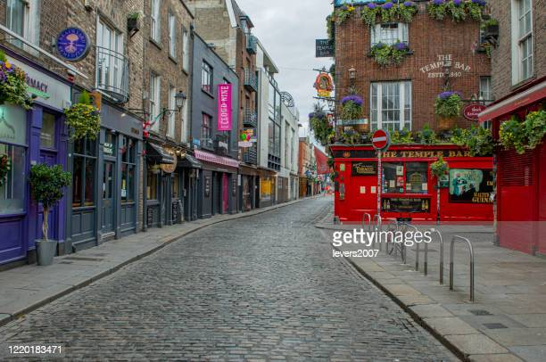 empty city streets during covid 19, dublin, ireland. - no people stock pictures, royalty-free photos & images