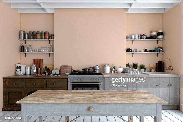 empty classic kitchen - pale pink stock pictures, royalty-free photos & images