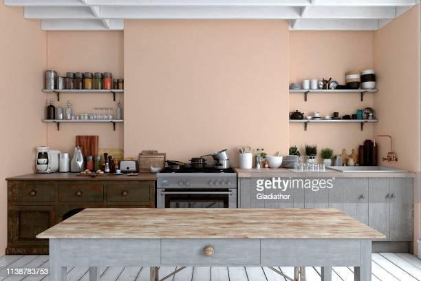 leere klassische küche - vorderansicht stock-fotos und bilder