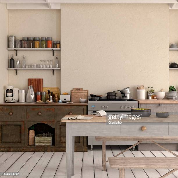 empty classic kitchen - domestic kitchen stock pictures, royalty-free photos & images
