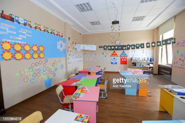 Empty classroom in SchoolLyceum N6 on May 5 2020 in Baku Azerbaijan The Azerbaijan schools resumed classes in online format due to the COVID19...