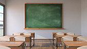 Empty classroom, pandemic concept