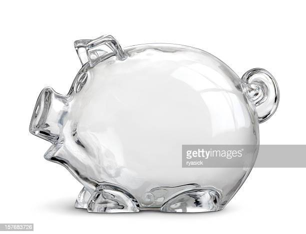 Empty Clear Piggy Savings Bank Isolated On White