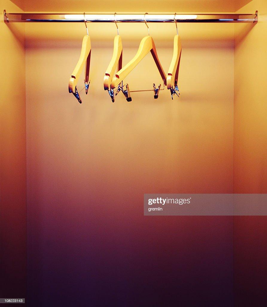 Empty Closet With Hangers Stock Photo
