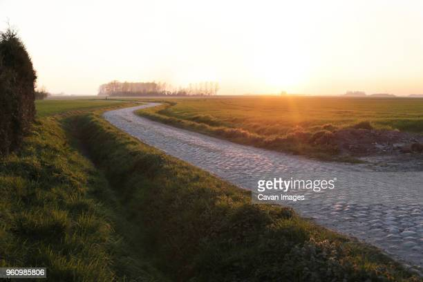 empty cobbled road amidst field during sunrise - nord frankrijk stockfoto's en -beelden