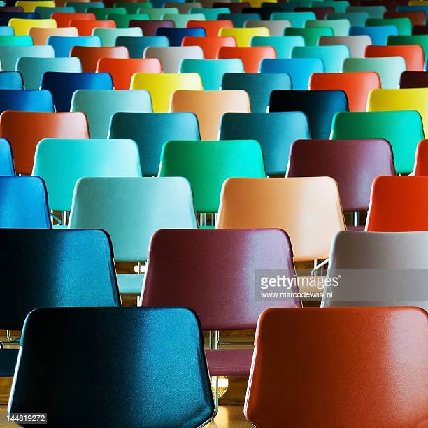 empty colorful chairs - group of objects stock photos and pictures