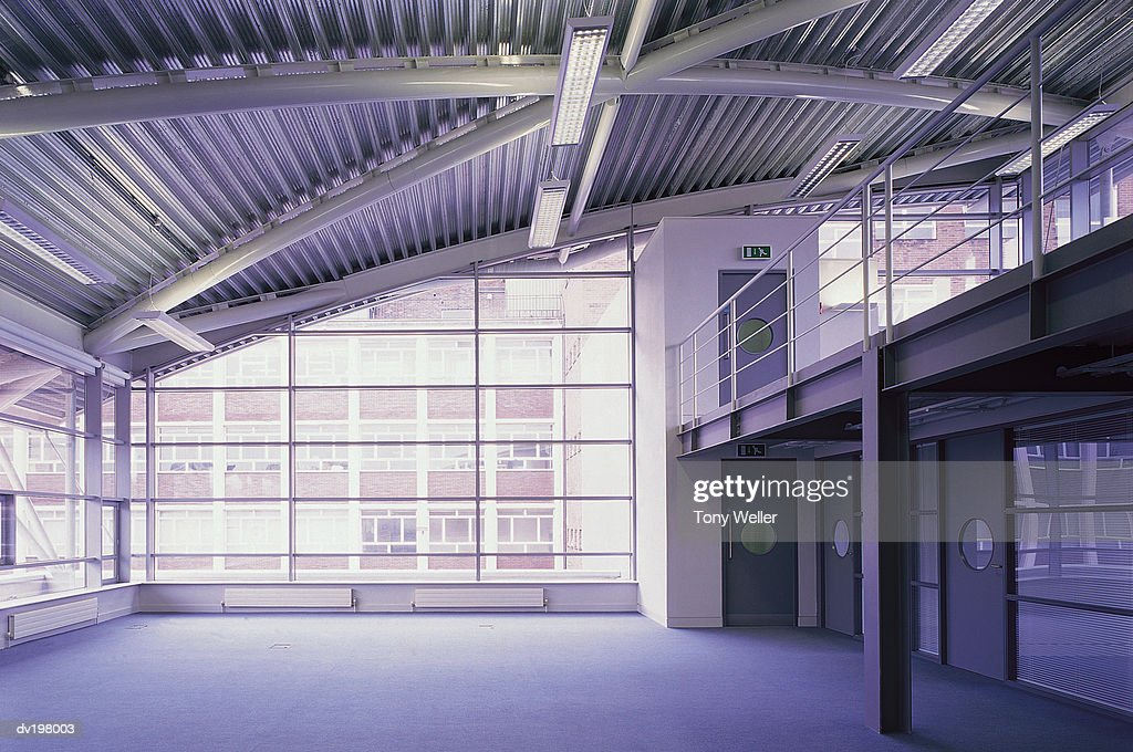 Empty commercial office space with balcony : Stock Photo