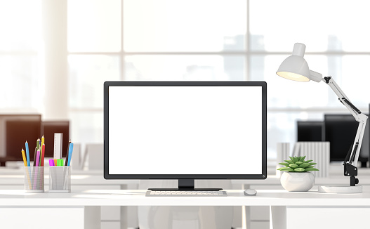Empty computer screen with blurry background 3d render 1053758418