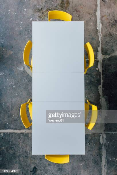 Empty conference table seen from above