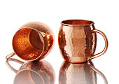 empty copper mugs for cold hot