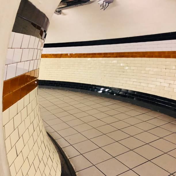 Empty corridor Bakerloo line tube station London