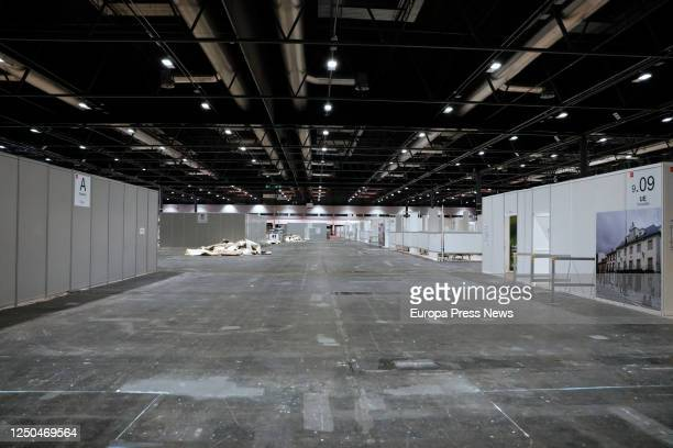 Empty corridors are seen at the facilities of the Ifema Emergency Hospital where the beds and the rest of the elements are being dismantled today on...