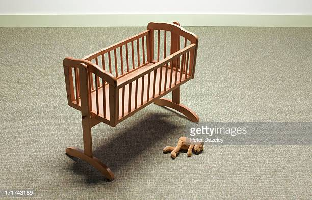 empty cot - empty crib stock photos and pictures