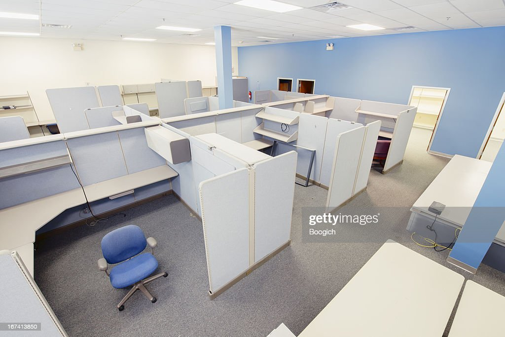 Empty Cubicles in Office Closed For Business in America : Stock Photo