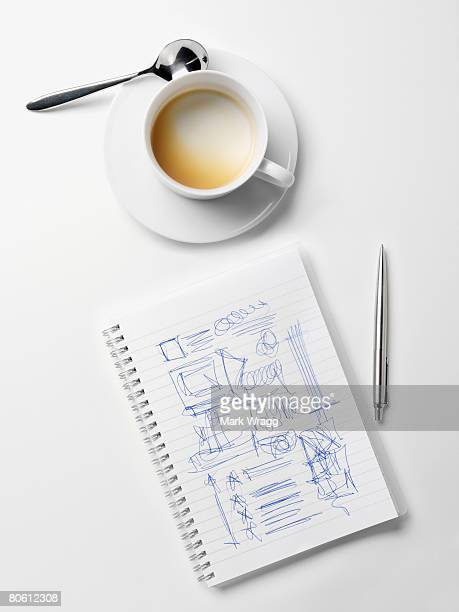 Empty cup and drawings on paper