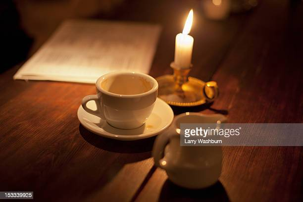 Empty cup of coffee by the candle light
