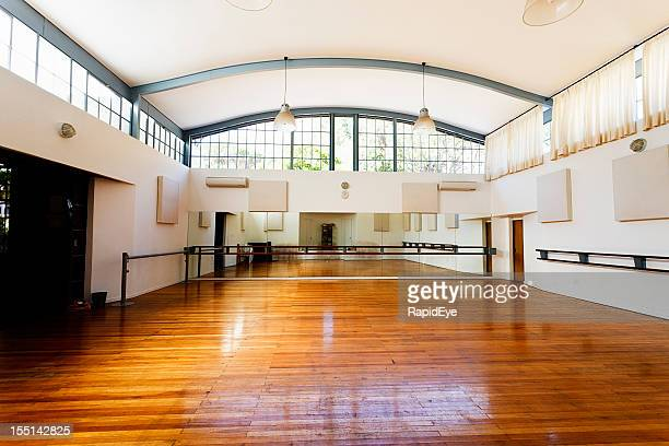 empty dance studio awaits dancers - dance studio stock pictures, royalty-free photos & images