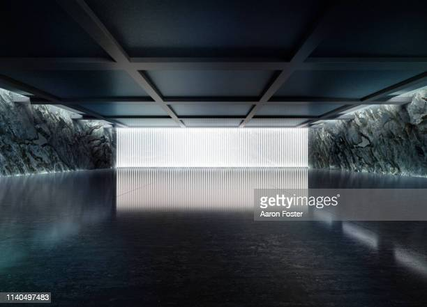 empty dark abstract concrete room smooth interior. - museum stock pictures, royalty-free photos & images