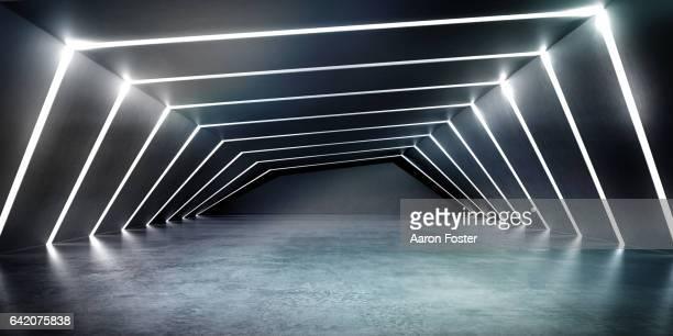 Empty dark abstract concrete room smooth interior.