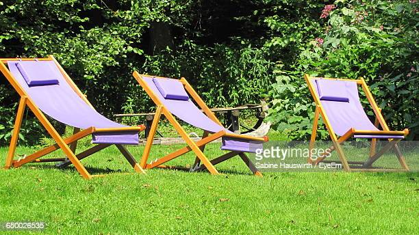Empty Deck Chairs On Grassland