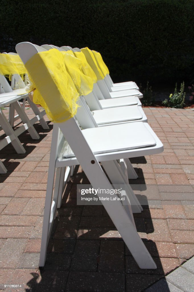 Empty Decorated Chairs In A Row Outdoors : Stock Photo