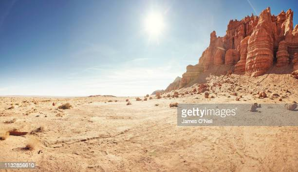 empty desert landscape with open plateau and cliff band - wilderness area stock pictures, royalty-free photos & images