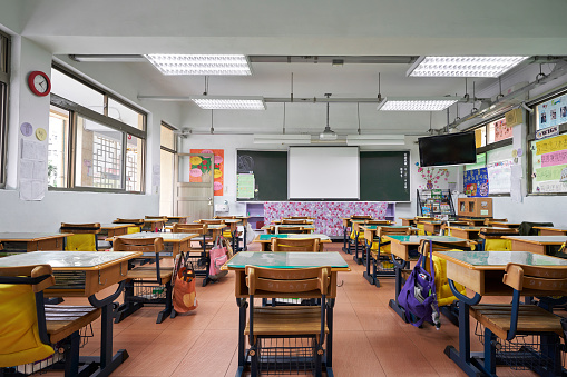 Empty desks of classroom in elementary school 1180994915