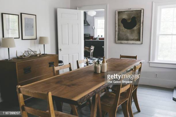 empty dining room - farmhouse stock pictures, royalty-free photos & images