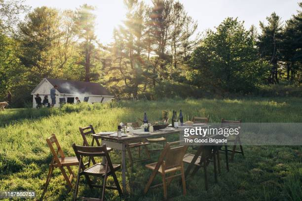 empty dinner table in field - incidental people stock pictures, royalty-free photos & images